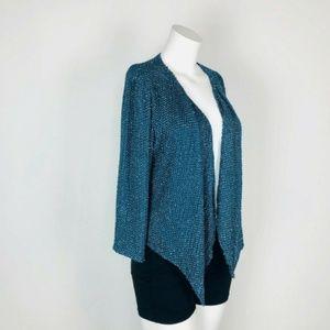 Parker Silk Teal Bead Sequin Glitter Jacket Blazer
